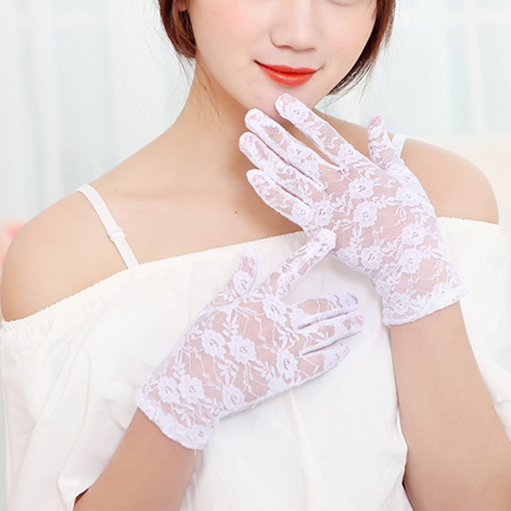 Summer Short Lace Gloves UV Protection Full Finger Gloves Outdoor Driving Gloves Prom Party Wedding Lace Gloves for Women