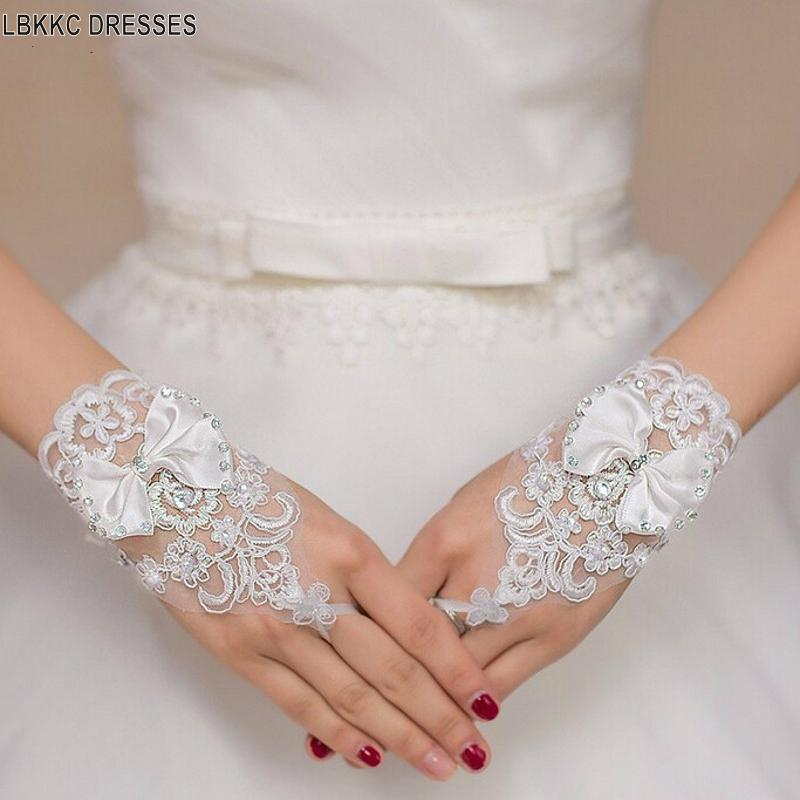 Bridal Gloves White or Ivory Wedding Short Gloves Fingerless Bridal Gloves for Women Ivory Lace Gloves Wedding Accessories