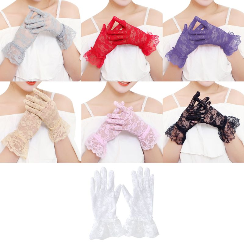 Women Dress Gloves Wedding Full Finger Lace Gloves Girls Fashion Mittens Accessories Pink White Hollow gai