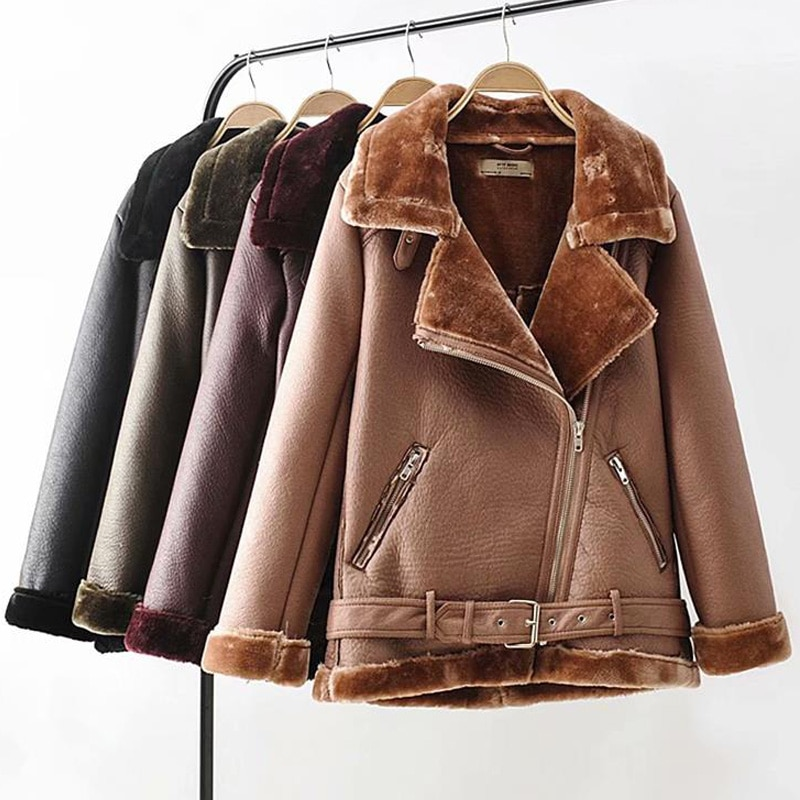 Warm  winter motorcycle velvet female short lapels fur thick Korean version plus velvet 2019 bomber