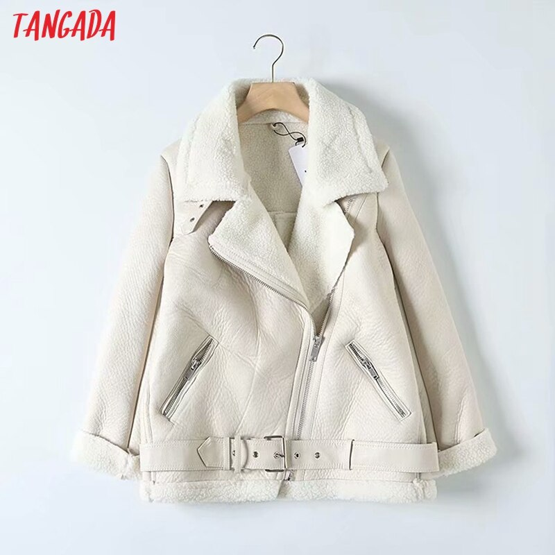 Tangada Women beige fur faux leather jacket coat with belt turn down collar Ladies 2019 Winter Thick Warm Oversized Coat 5B01