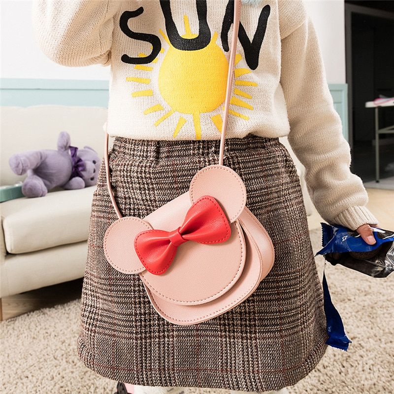 Monsisy 2019 Girl Coin Purse Handbag Children Wallet Small Coin Box Bag Cute Mouse Bow Kid Money Bag Baby Shoulder Bag Purse
