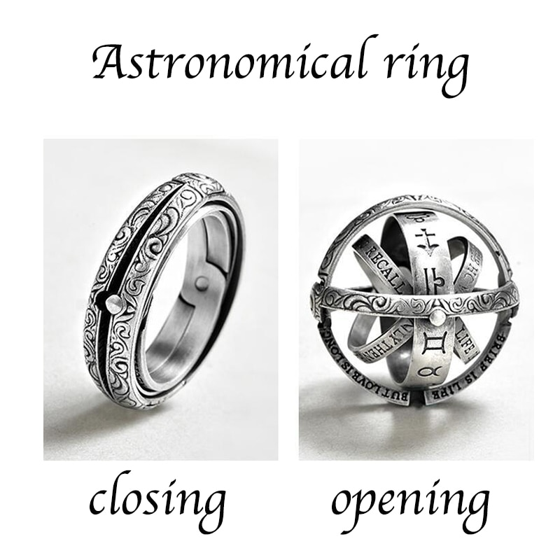 Silver Astronomical Ring for men women metal ball Creative Complex Rotating Cosmic Finger mood ring men fashion jewelry