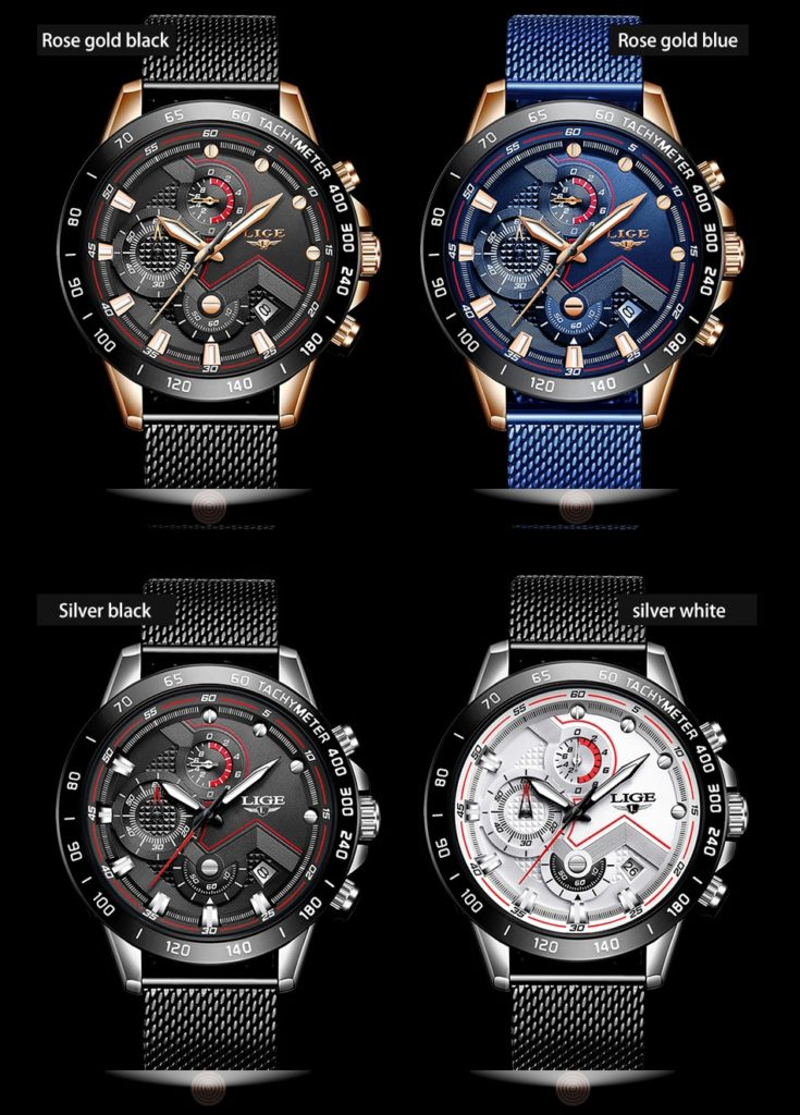 LIGE Fashion Mens Watches Top Brand Luxury WristWatch Clock Blue Men Waterproof Sport Chronograph Relogio Masculino