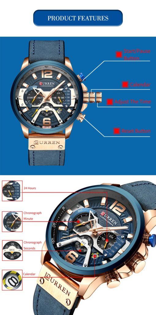 CURREN Casual Sport for Men Blue Top Brand Luxury Military Leather Wrist Man Clock Fashion Chronograph Wristwatch