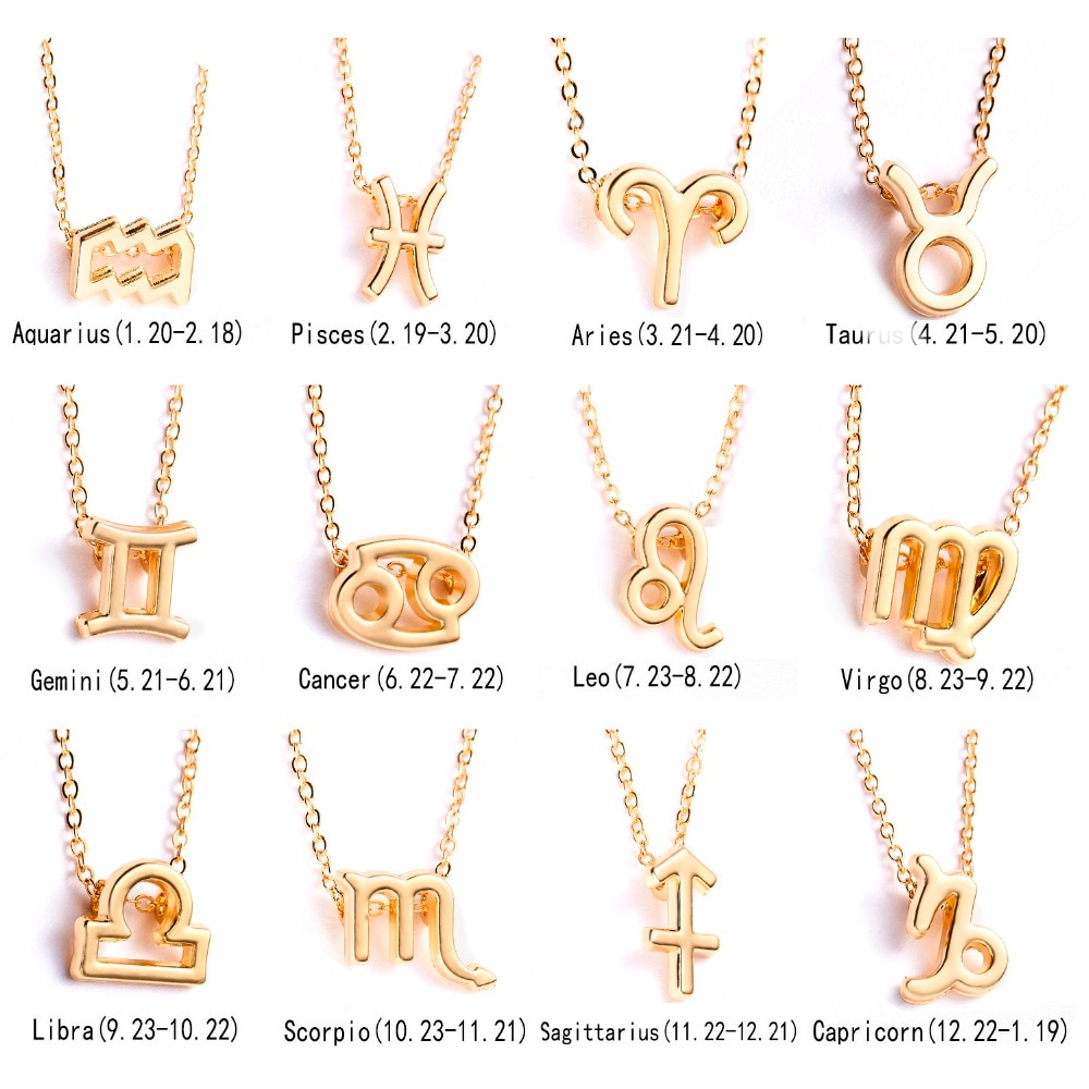 Necklaces Pendants Female Elegant Star Zodiac Sign 12 Constellation Necklaces Pendants Charm Gold Chain Choker Necklaces for Women Jewelry
