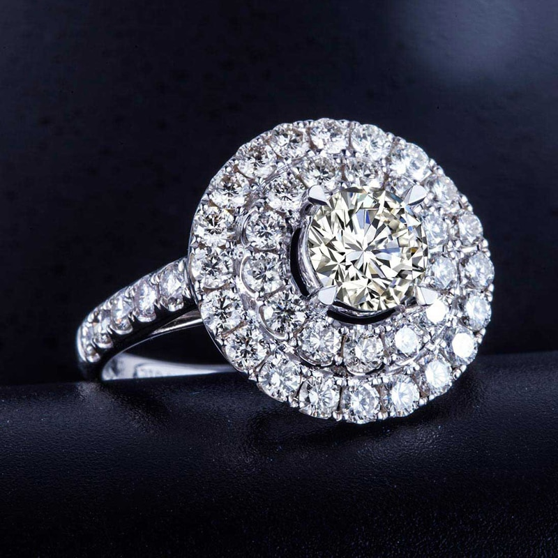 Diamond Women Engagement Ring 1.51+2.272ct Natural Diamond Jewelry 18K White Gold or Platinum Handmade Wedding Band