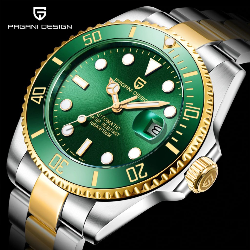Design Brand Luxury Men Watches Automatic Black Watch Men Stainless Steel Waterproof Business Sport Mechanical Wristwatch