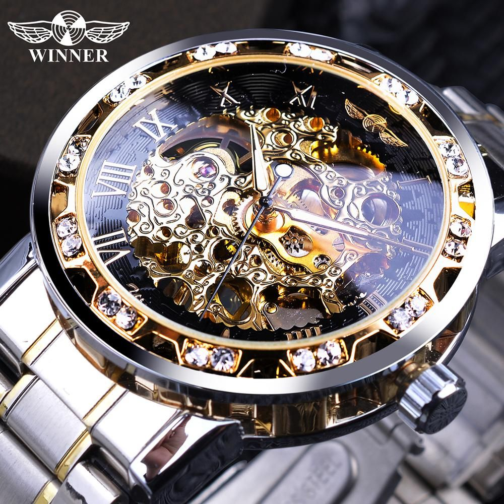 Transparent Fashion Diamond Luminous Gear Movement Royal Design Men Top Brand Luxury Male Mechanical Skeleton Wrist Watch