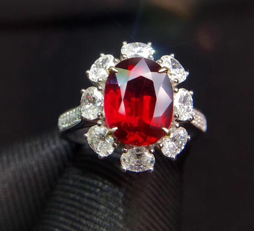 Pure 18 K Gold Jewelry Natural Red Ruby 3.07ct Diamond Wedding