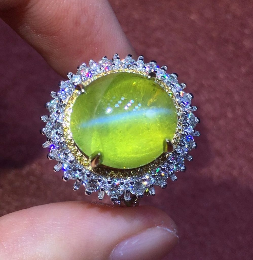 Fine Jewelry Real 18K White Gold 100% Natural Chrysoberyl Cat's Eye