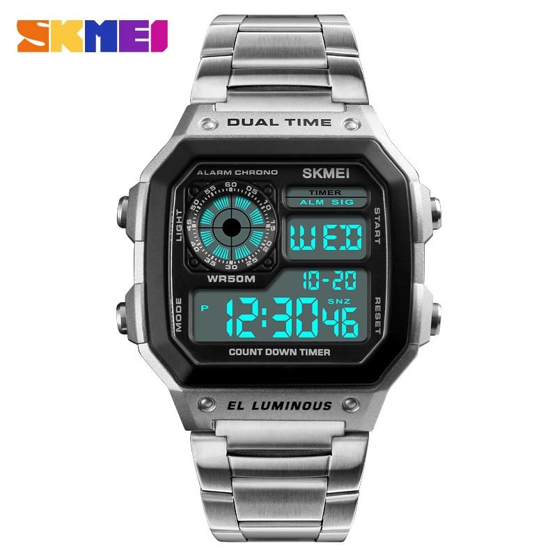 Business Men Watches Waterproof Sport Watch Stainless Steel Digital Wristwatches Clock Relogio Masculino