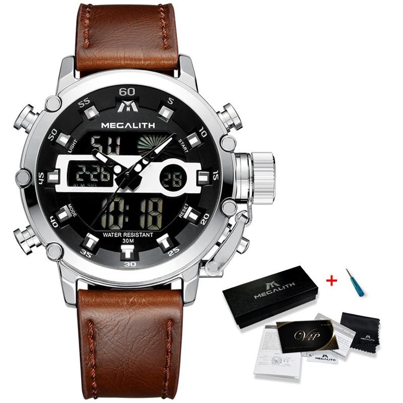 Men Sports Quartz Watch Men Multifunction Waterproof Luminous Wristwatch Men Dual Dispay Clock Horloges Mannen With Box