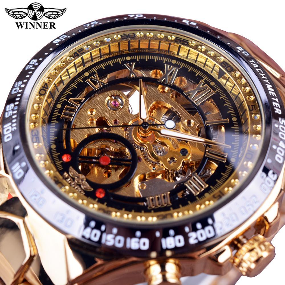 Mechanical Sport Design Bezel Golden Watch Mens Watches Top Brand Luxury Montre Homme Clock Men Automatic Skeleton Watch