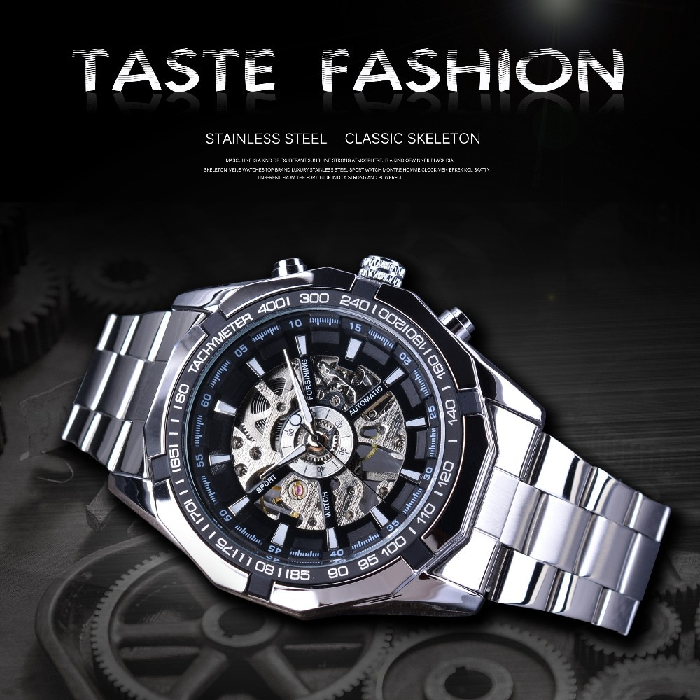 Stainless Steel Waterproof Mens Skeleton Watches Top Brand Luxury Transparent Mechanical Sport Male Wrist Watches