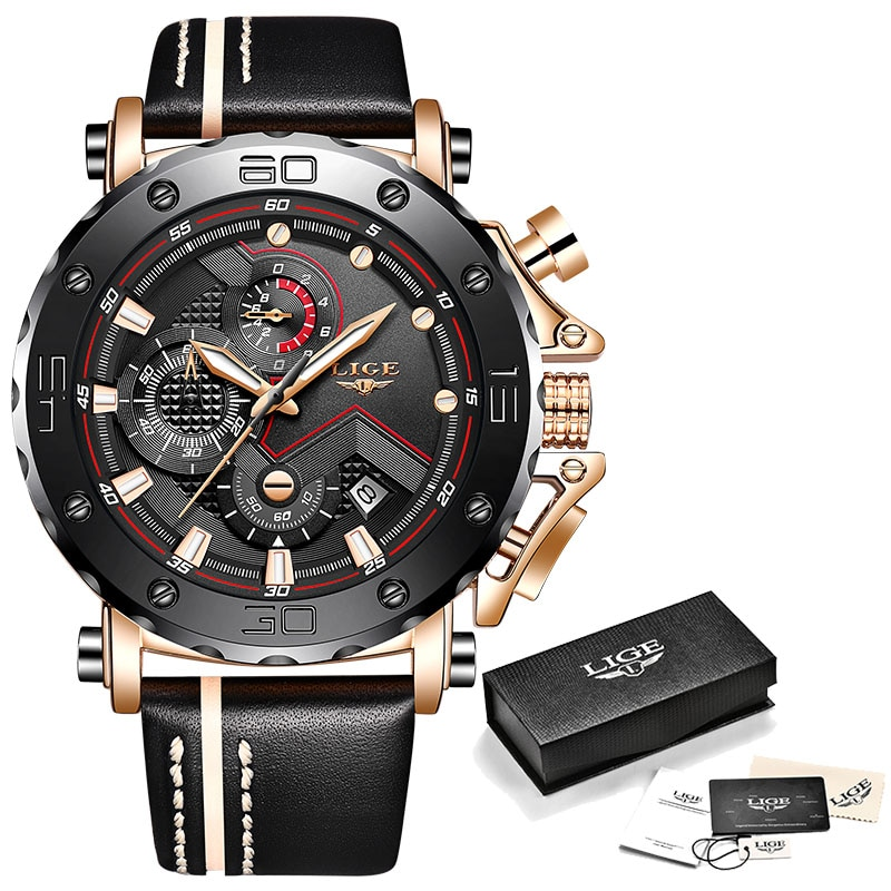 Sport Chronograph Mens Watches Top Brand Casual Leather Waterproof Date