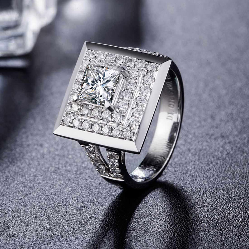 Ring for Women 18K White Gold 1.01+0.69ct Natural GIA Diamond Princess Cut H/SI1