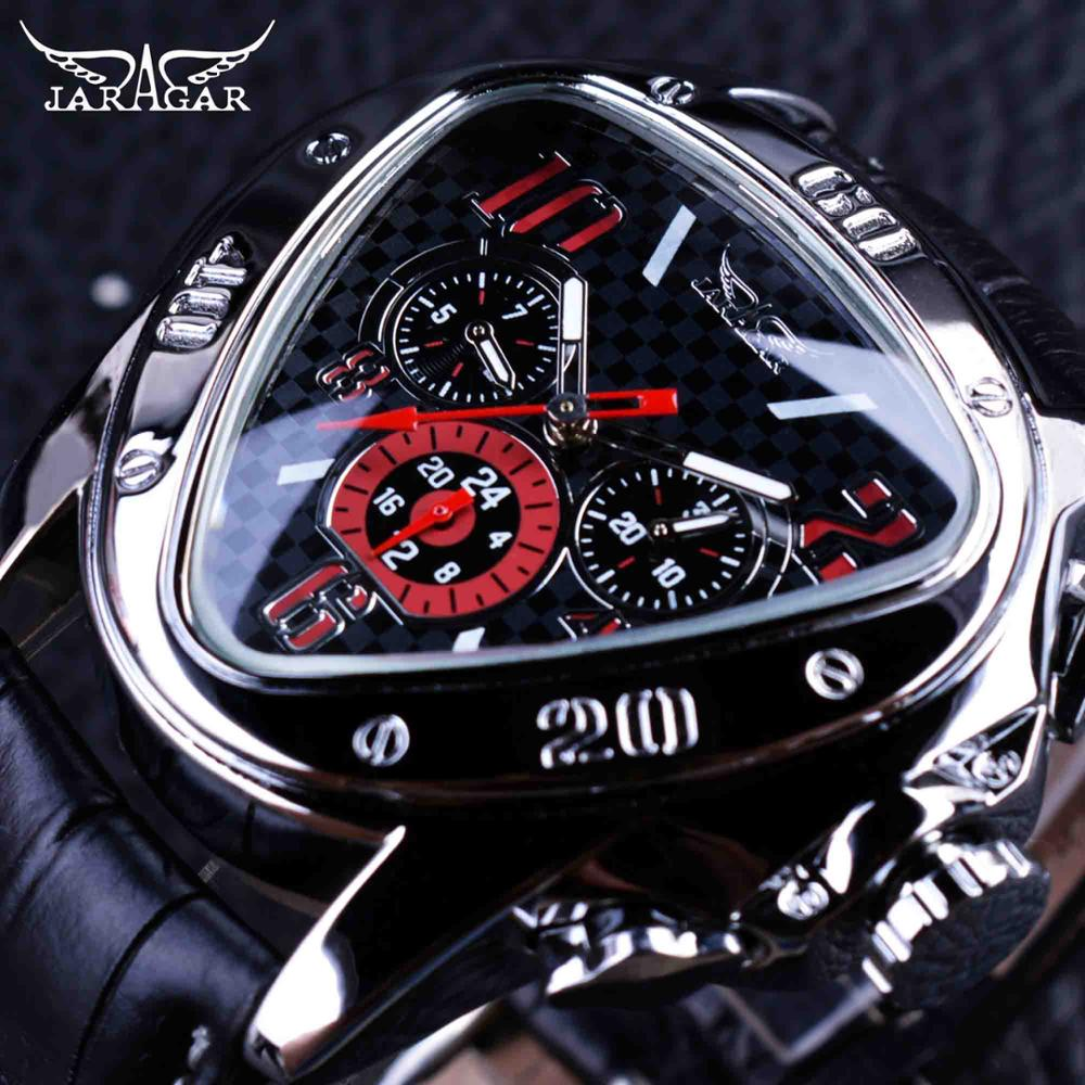 Sport Racing Design Geometric Triangle Pilot Genuine Leather Men Mechanical Watch Top Brand Luxury Automatic Wrist Watch