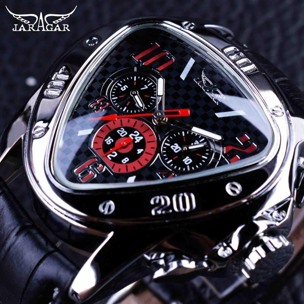 Sport Racing Design Geometric Triangle Pilot Genuine Leather Men Mechanical Watch Top Brand Luxury Automatic Wrist Watch