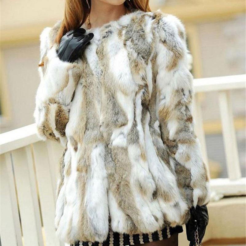 Ethel Anderson Real Farm Rabbit Fur Coat Women Striped Jacket Luxury Parkas Wedding