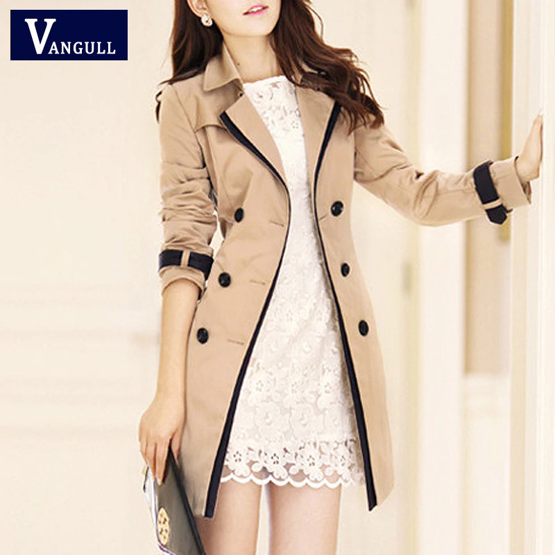 Vangull 2019 Fashion Women Thin Trench Coat Turn-down Collar Double Breasted Patchwork Long Trench Coat Slim Plus Size Wind coat
