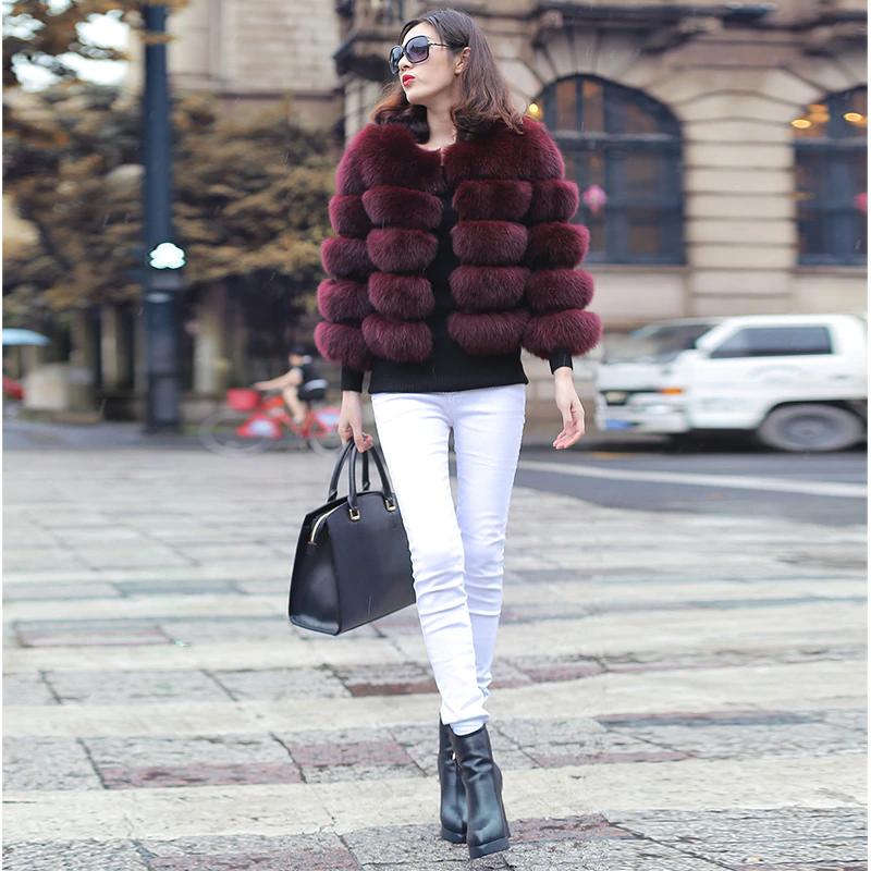 2019 New Women Warm Real Fox Fur Coat Short Winter Fur Jacket Outerwear Natural Blue Fox Fur Coats for Women Hot Promotion
