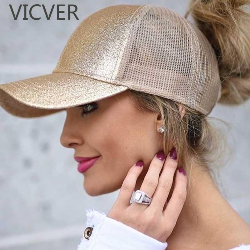Baseball Cap Women Snapback Dad Hat Mesh Trucker Caps Messy Bun Summer Hat Female Adjustable Hip Hop Hats