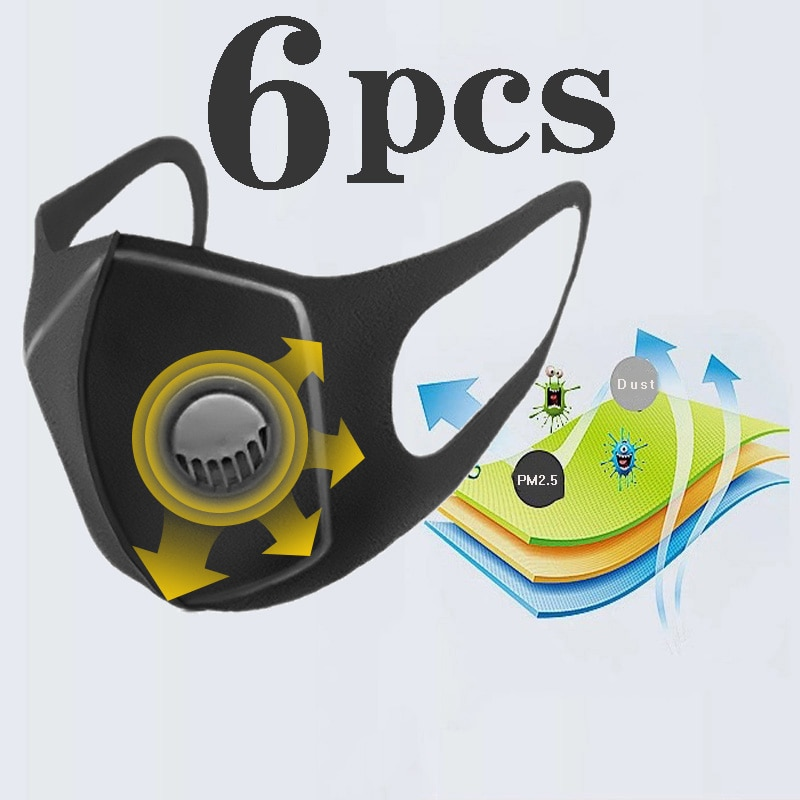 Dust Mask Filter Anti PM2.5 Air Pollution Mouth Face Mask Winter Anti Dust Carbon Insert Washed Reusable Masks Men Women
