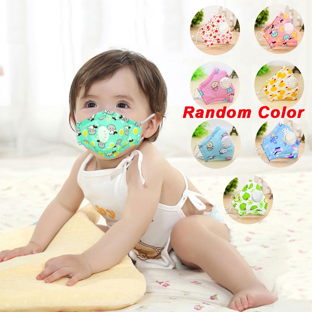 Mouth Masks Cartoon Printing Dustproof Breathable Kids Cotton Mouth Face Mask Cover With Filter Respirator Anti-Dust Washable