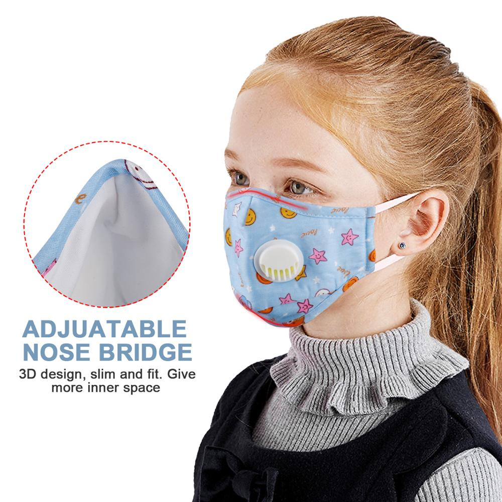 Kids Cotton Mouth Face Mask With 10pcs PM2.5 Breathing Valve Anti dust Anti Flu Mask Respirator Adjustable Children Mask