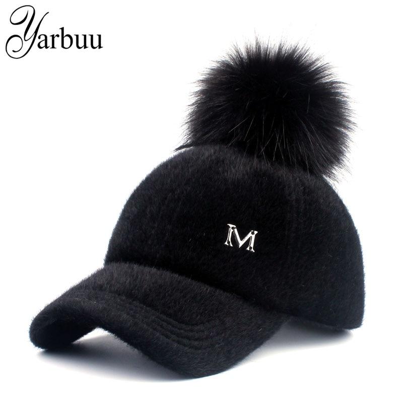 New brand baseball caps 2017 winter cap for women Faux Fur pompom ball cap Adjustable Casual Snapback hat cap