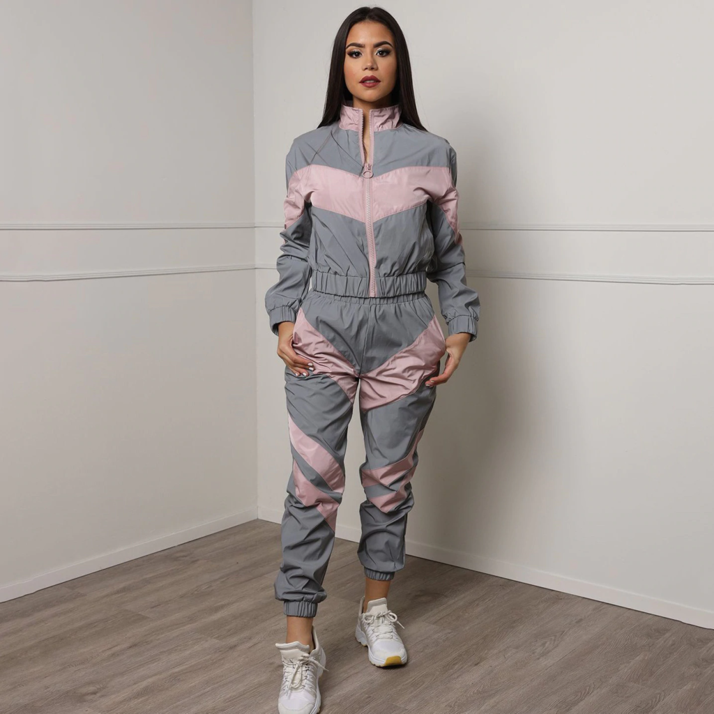 Women Tracksuits 2 Piece Set Reflective Zip Crop Top Pants Windbreaker Fashion Female Loose Glow Jacket Coat Trousers Plus Size