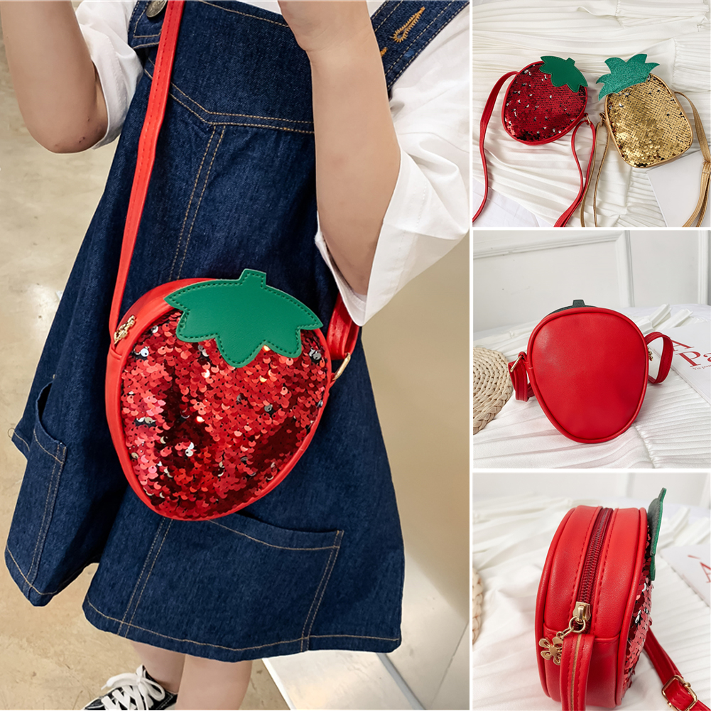 Local Stock Kids Children Sequins Strawberry Pineapple Crossbody Handbags Girls PU Round Messenger Shoulder Bag Small Handbags