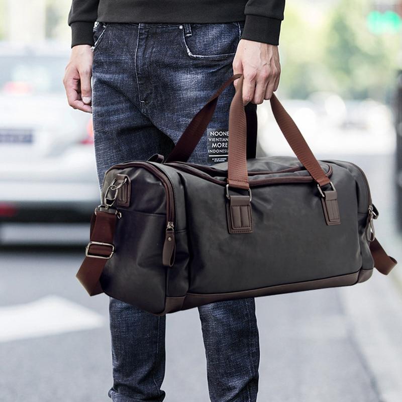Top Quality Casual Travel Duffel Bag PU Leather Men Handbags Big Large Capacity Travel Bags Black Mens Messenger Bag Tote