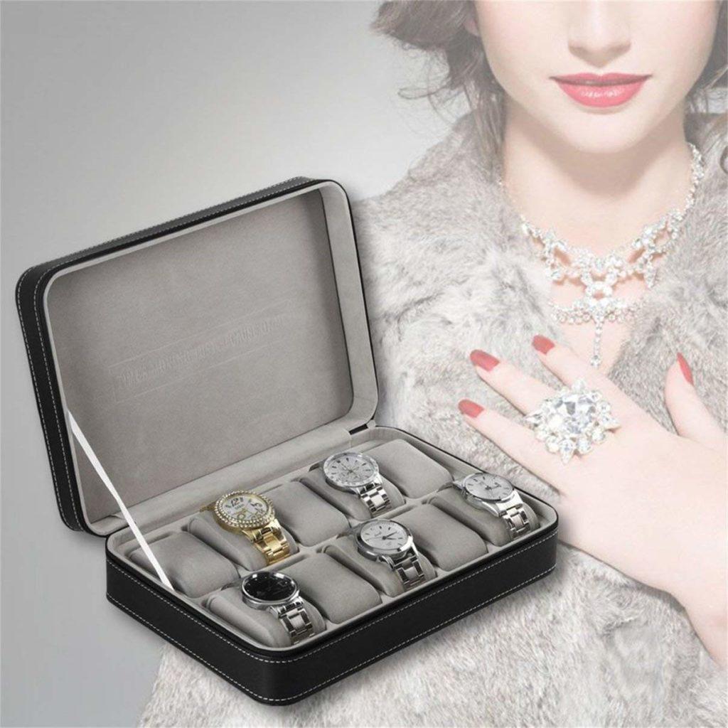 Portable Multi-function Jewelry Organizer Display Case Grids Storage Box