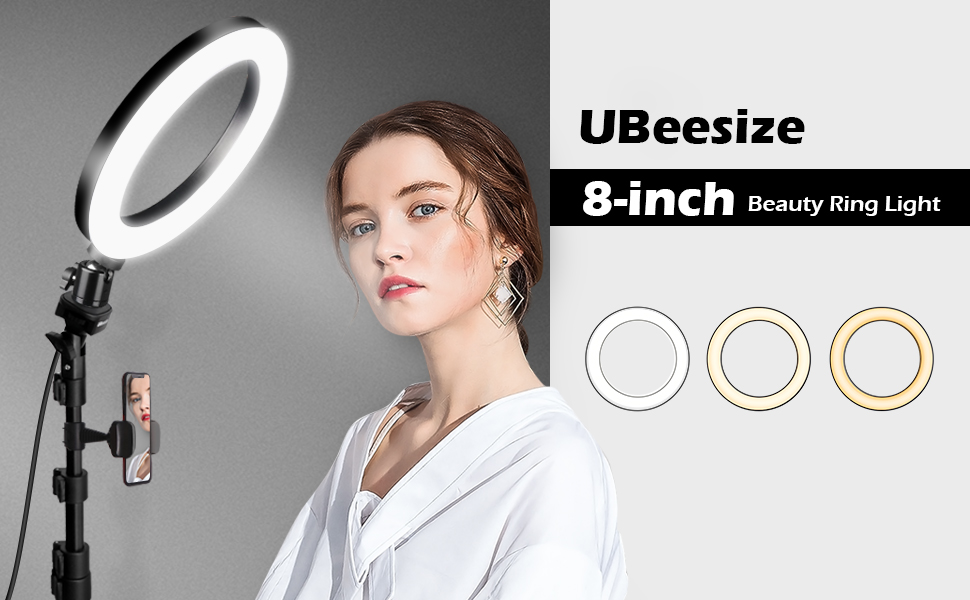 9. Selfie Ring Light with Tripod Stand & Cell Phone Holder for Live Stream/Makeup, UBeesize Mini Led Camera Ringlight for YouTube Video/Photography Compatible with iPhone Xs Max XR Android (Upgraded)