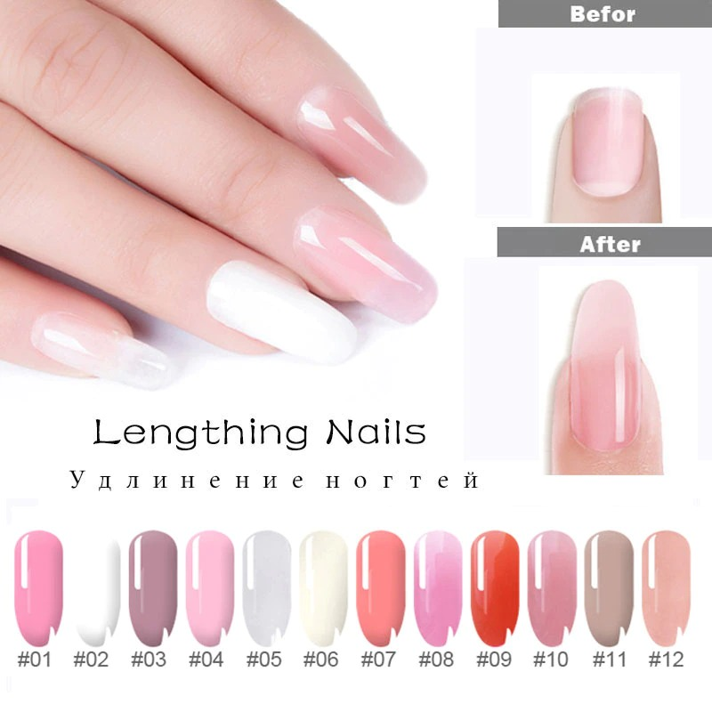 5PCS Poly Extention Gel Set Nail Art French Nail Art Clear Camouflage Color Nail Tip Form Crystal UV Gel Slice Brush Nail Gel