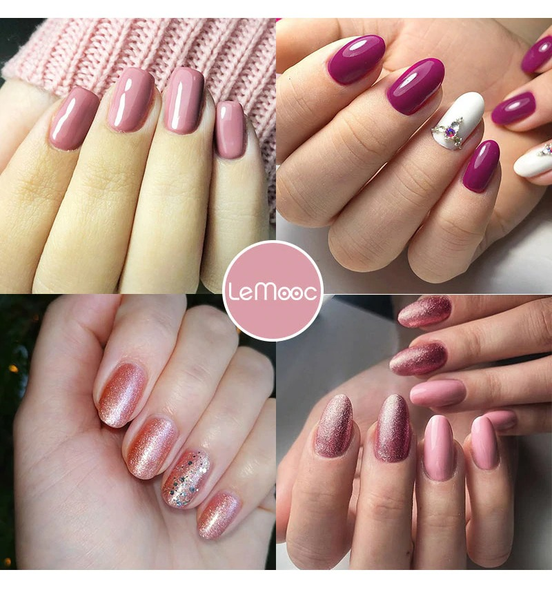 LEMOOC Nail Gel Polish Spring Summer Color Varnishes Glitter Sequins Soak Off Semi Permanant UV LED Nail Art Hybrid Lacquers