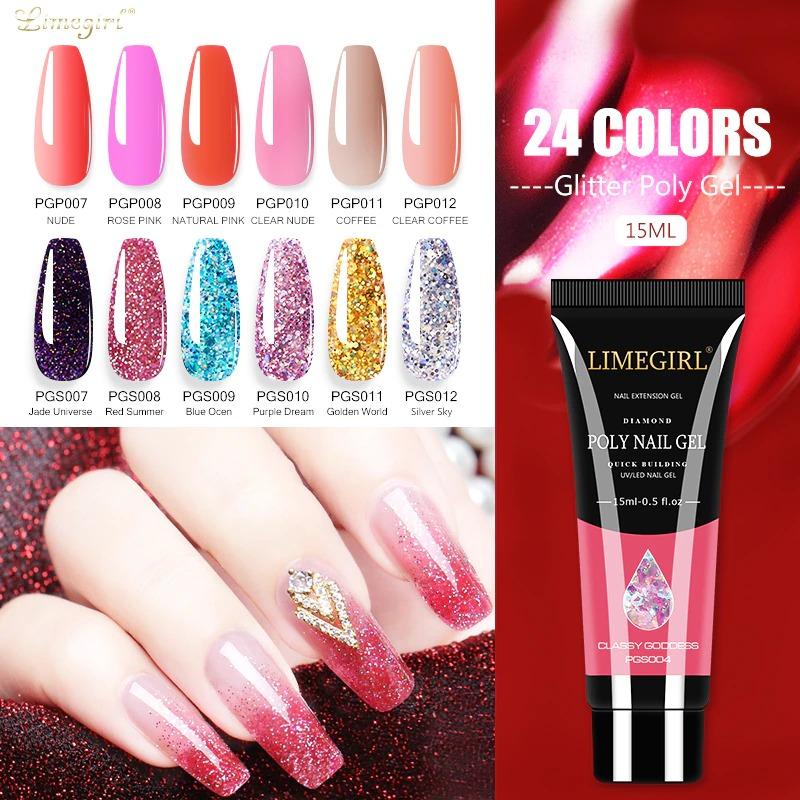 Limegirl 15ml Poly Nail Gel Glitter Builder Gel All For Manicure Nail Art Design Luminous Gel Nail Extension Nail Gel For Nails