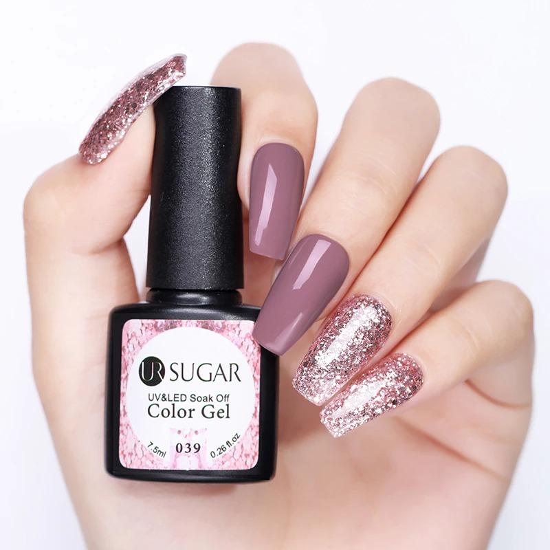 UR SUGAR 7.5ml Glitter UV Gel Nail Polish Glitter Sequins Soak Off UV Gel Varnish Colorful Nail Gel Polish DIY Nail Art Polish