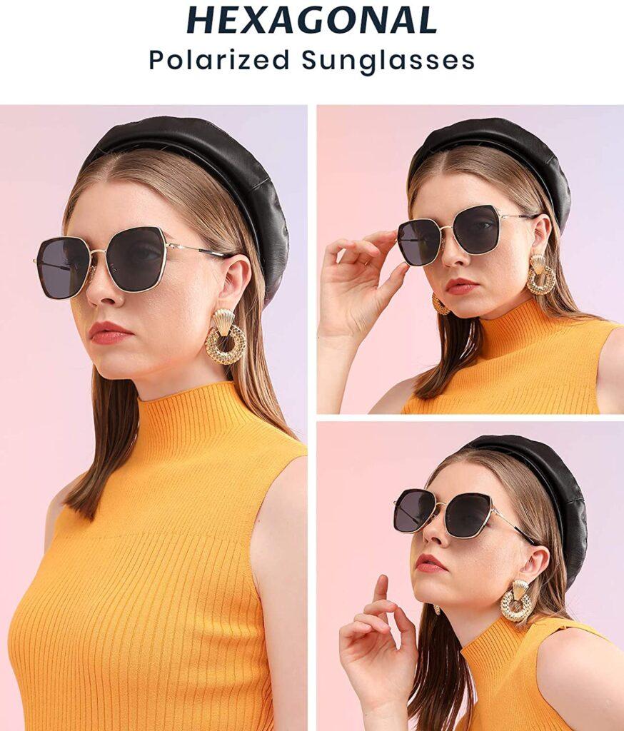 Cyxus Hexagonal Polarized Sunglasses for Women Men Oversized Metal Frame Retro Square TAC Lens Anti-glare Shades