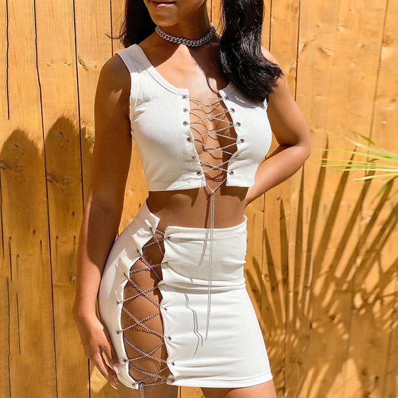 ANJAMANOR Sexy Two Piece Set Chain Lace Up Hollow Out Mini Skirt and Crop Top Club Birthday Outfits for Women Dress D96-CZ19