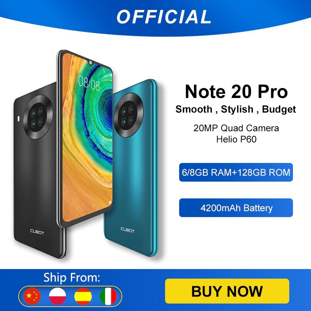 "Cubot Note 20 Pro Quad Camera Smartphone NFC 6GB/8GB+128GB 6.5"" 4200mAh Android 10 Dual SIM Telephone 4G LTE celular Note20 Pro"