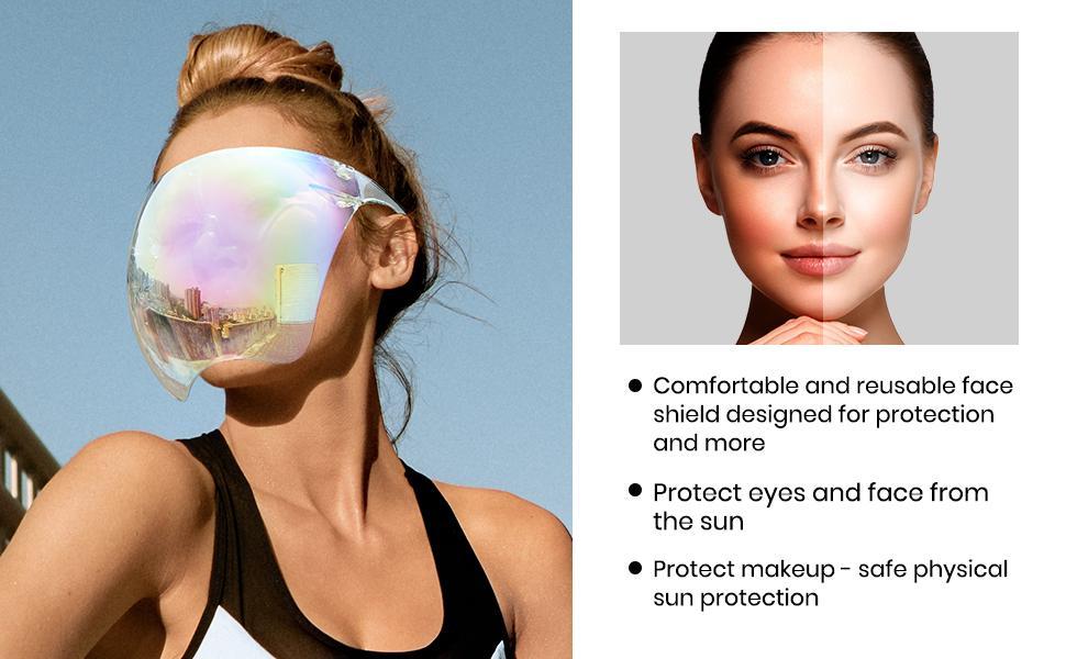 Cyxus Face Visors for Bikes Cycling UV Protection Shield Sunglasses Full Face Cover for Men Women