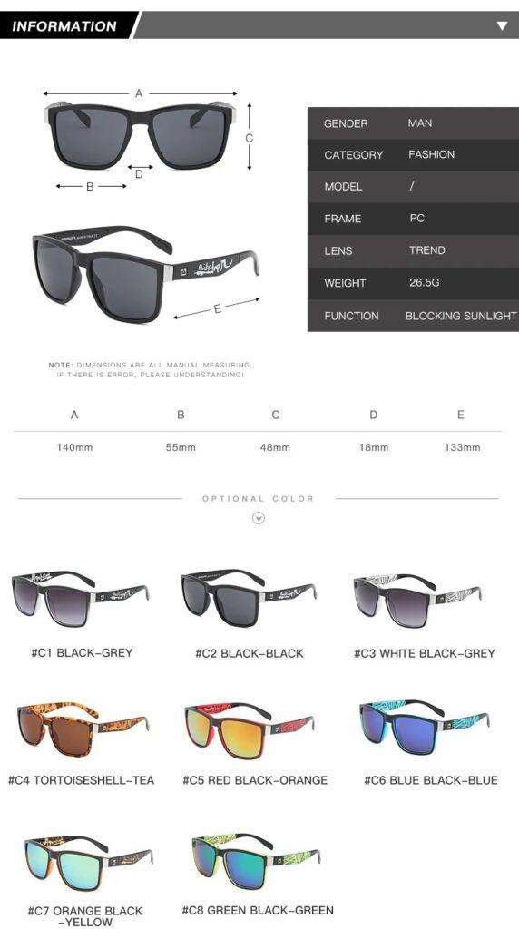 Fashion Classic Square Sunglasses Men Women Sports Outdoor Beach Fishing Travel Colorful Sun Glasses UV400 Goggles