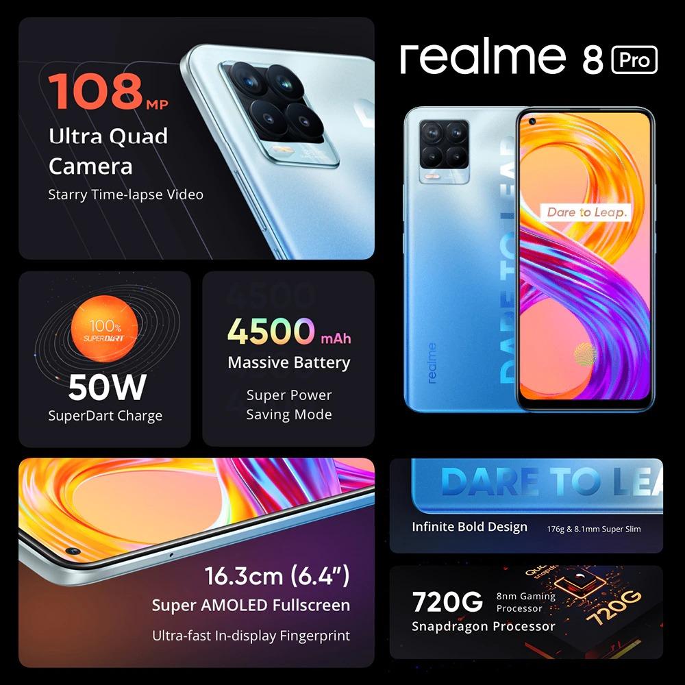 realme 8 Pro Smartphone 108MP Camera Russian Version Snapdragon 720G Processor 6.4'' inch AMOLED Dispaly 50W Super Dart Charge