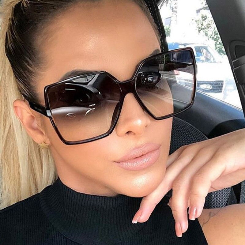 Vintage Oversize Square Sunglasses Women Luxury Brand Big Frame Colorful Sun Glasses Female Black Fashion Gradient Glasses gafas