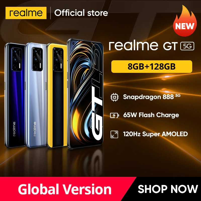 "World Premiere realme GT 5G phone Global Version Snapdragon 888 65W Super Dart Charge 120Hz 6.43"" AMOLED 8GB 128GB NFC 4500mAh"